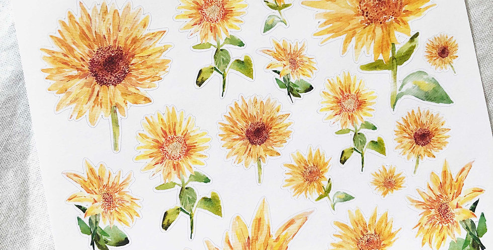 Watercolored Sunflowers Stickers