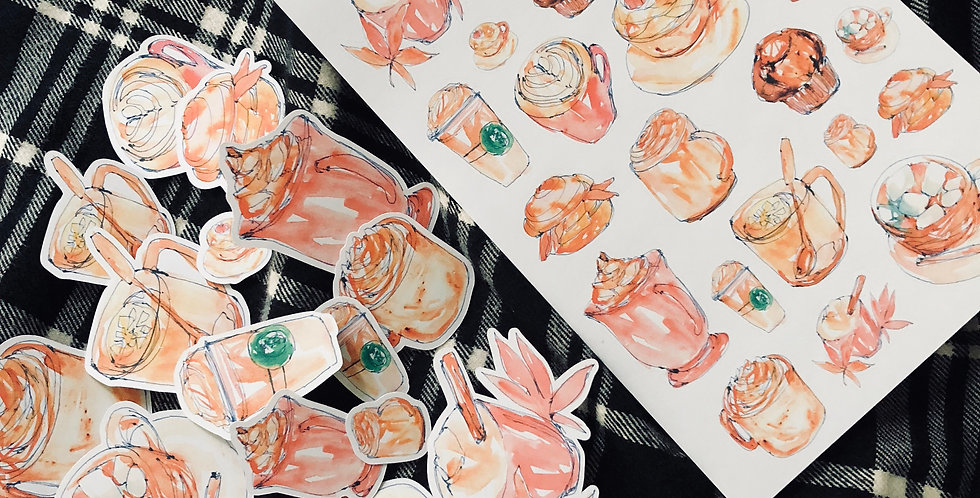 Autumn in Cafe Stickers