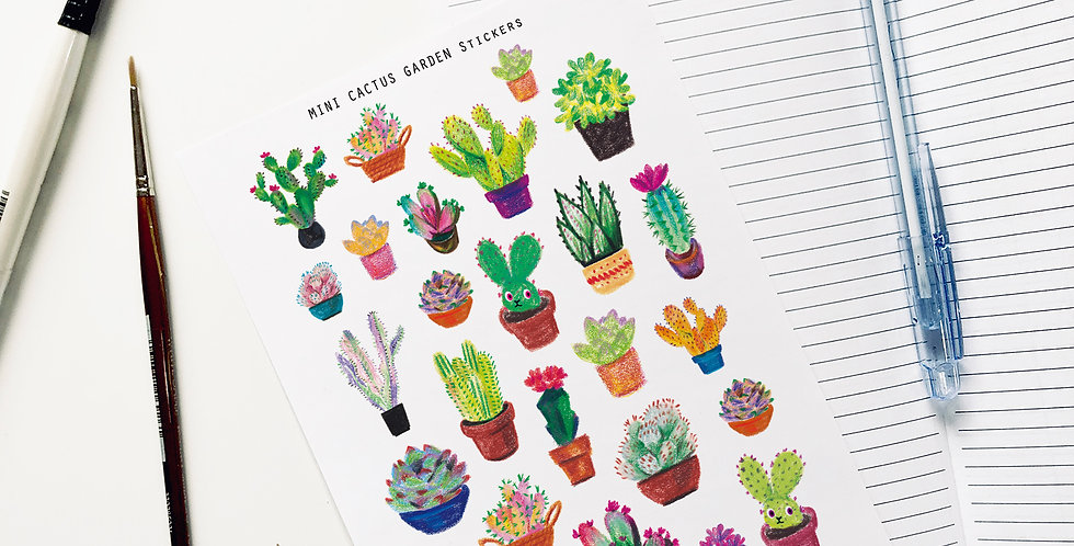 Mini Cactus Garden Stickers