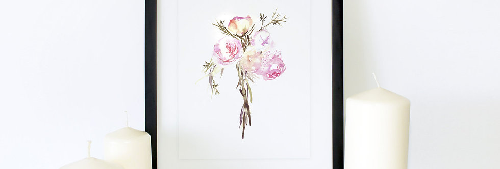 Pink Rose Bunch Poster Print