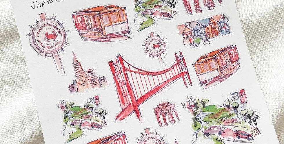 Trip to San Francisco Stickers
