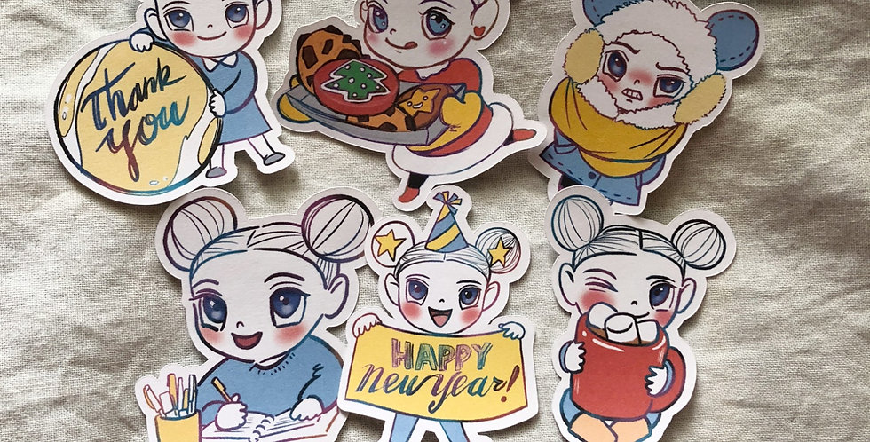 Petty and Happy New Year (6 Die Cuts)