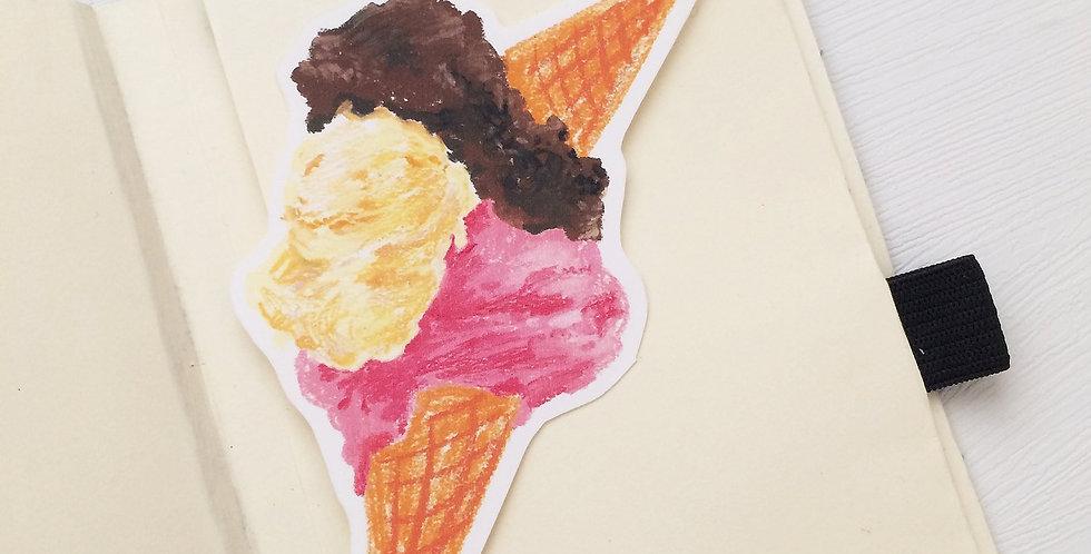 Three Flavor Ice Cream Die cut Sticker