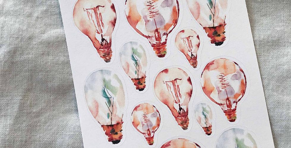 Vintage Light Bulbs Stickers