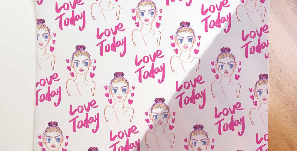 Love Today Girl Pattern Vellum Paper (Folded)