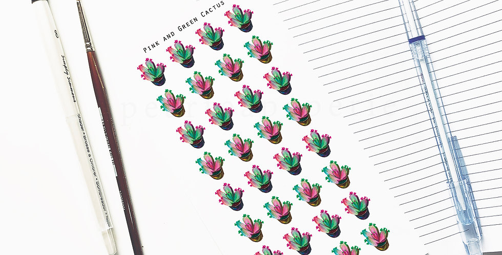Pink and Green Cactus stickers