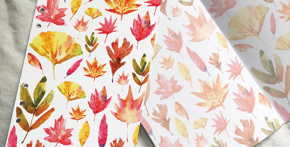 Watercolored Autumn Leaves Planner Inserts