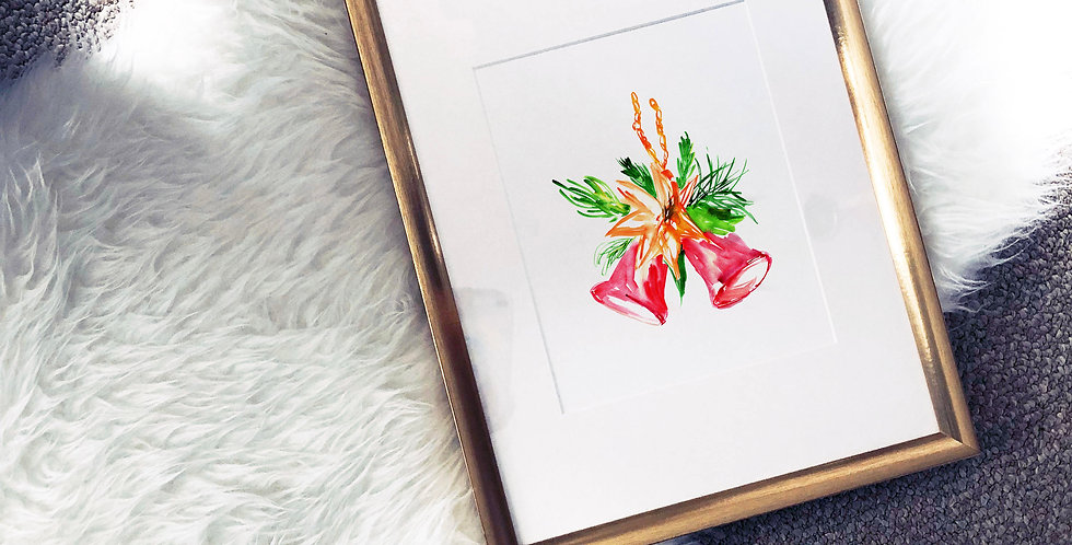 Red Jingle Bell Watercolor Poster