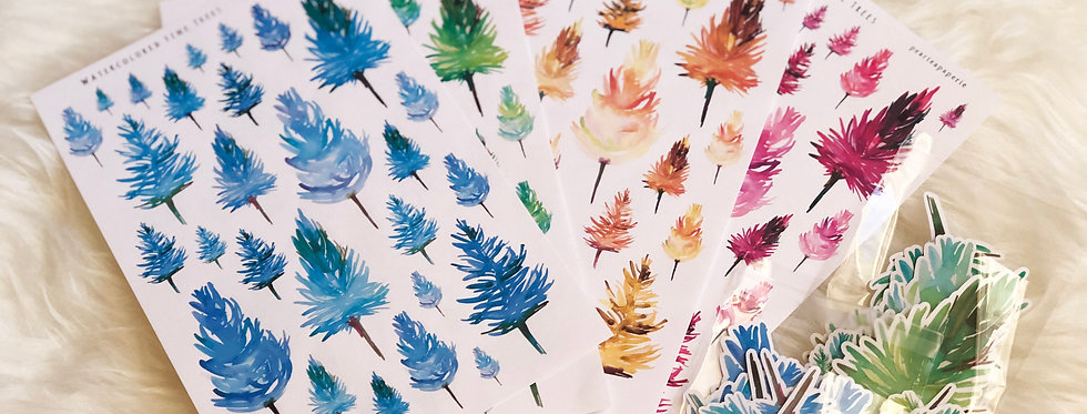 Watercolored Pine Trees Stickers