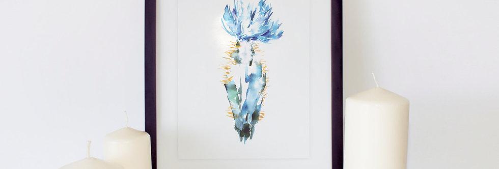 Blue Cactus Watercolor Poster