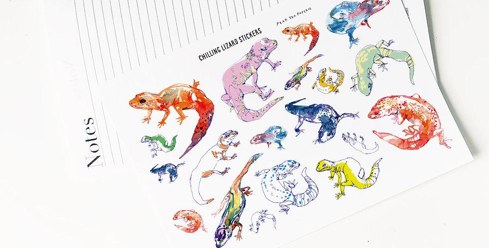Chilling Lizard Stickers