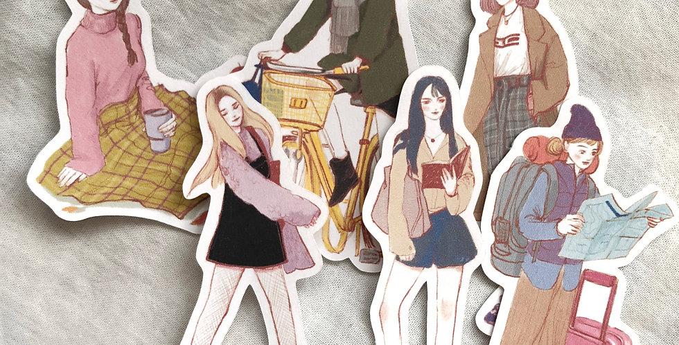 Autumn Days Girls (SET) - 6 Die Cut Stickers