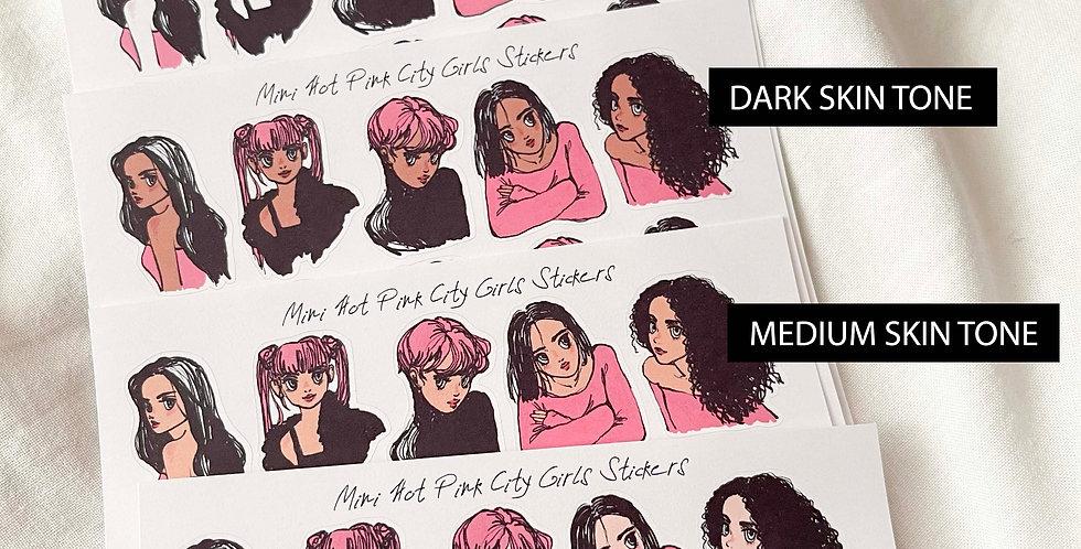 Mini Hot Pink City Girls Stickers