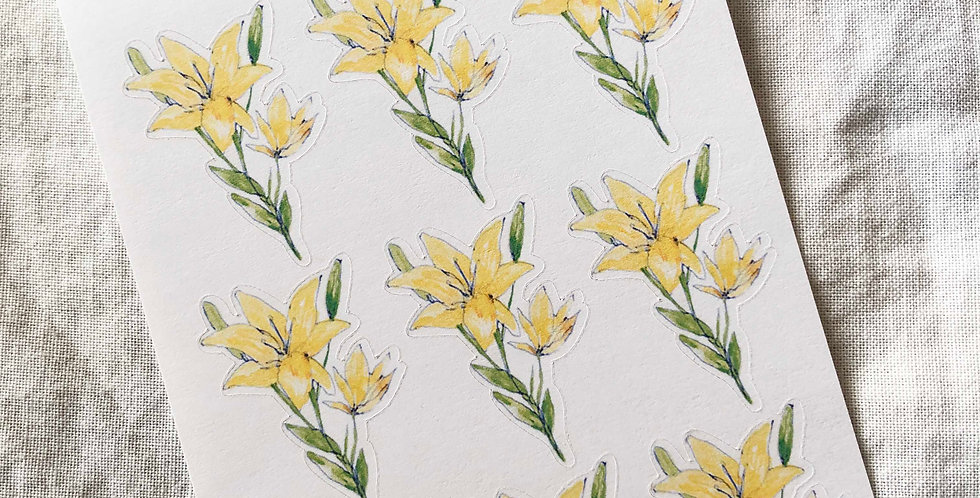 Yellow Lily Flower Stickers