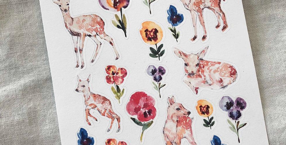 Baby Deer in the Pansy Garden Stickers