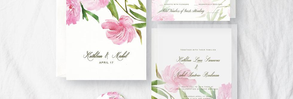 Lavatera and Malope Flower Wedding Invitation Card