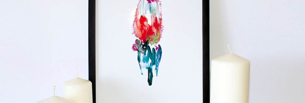 Red Blue Cactus Watercolor Poster