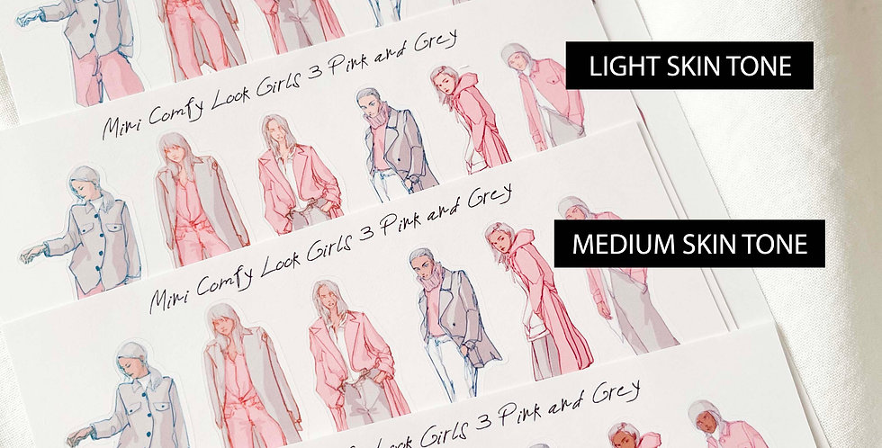 Mini Comfy look Girls (Pink and Grey) Whole Body ver.
