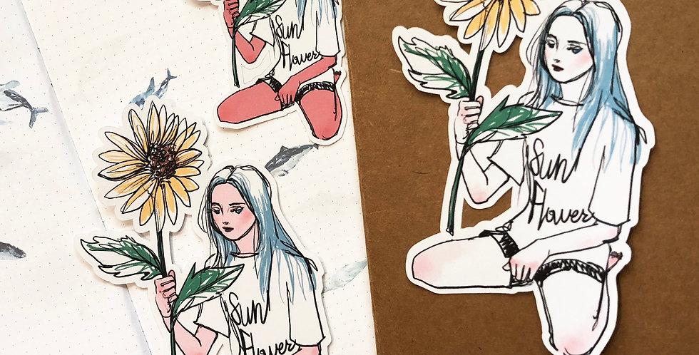 Summer days girls stickers - Sunflower girl 6 Die Cuts