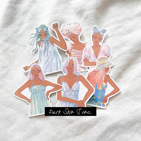 Summer Dress Girls stickers - Upper Body