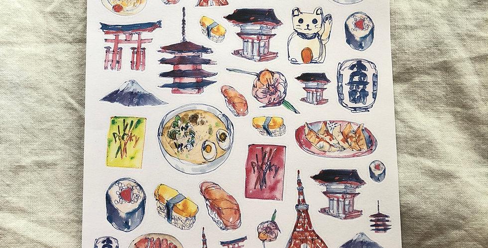 Trip to Japan Stickers