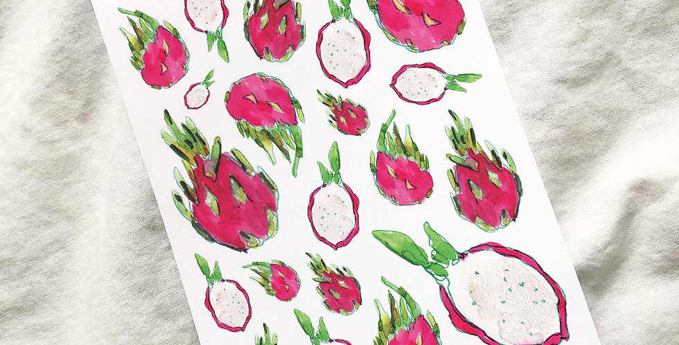 Watercolored Dragon Fruit Stickers (2020)