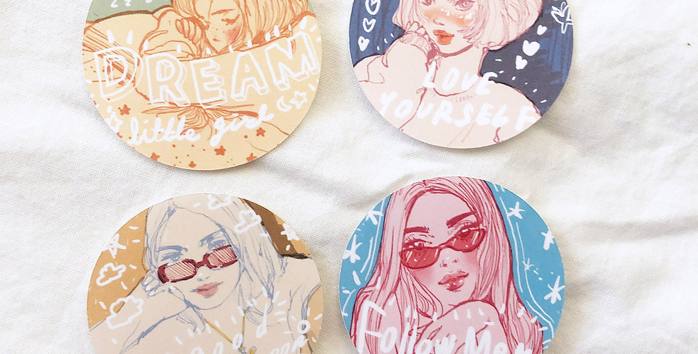 Follow Me Girls Stickers (Round Shape) 8Die Cut Stickers - 3 Skin tones