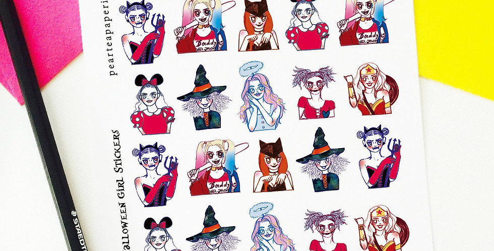 Mini Halloween Girl Stickers