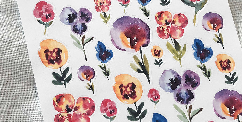 Pansy Flowers Garden Sketch Stickers