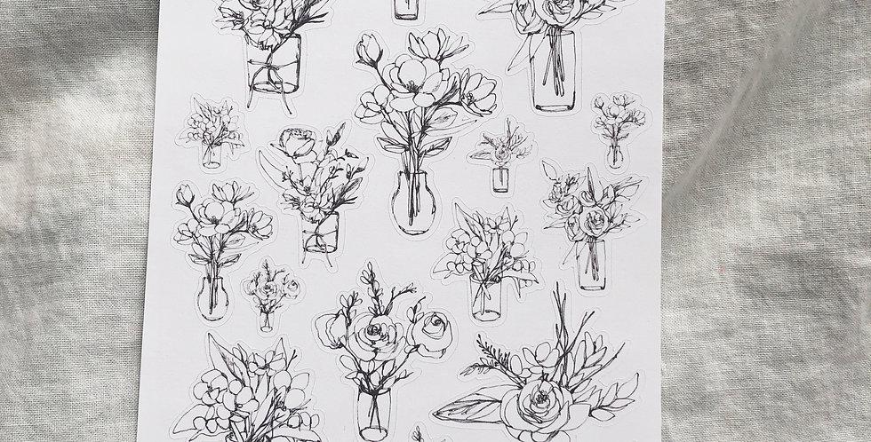 Flower Vase Pen drawing Stickers