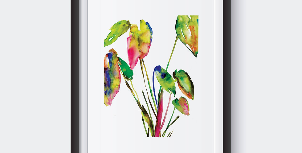 Watercolor wash botanical plant print