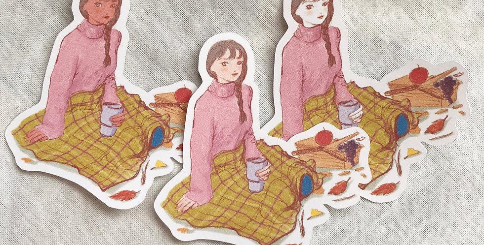Autumn Days Girls 002 - 6 Die Cut Stickers