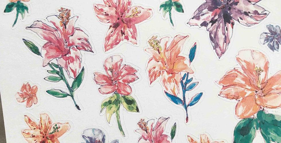 Hibiscus Flower Garden Sketch Stickers