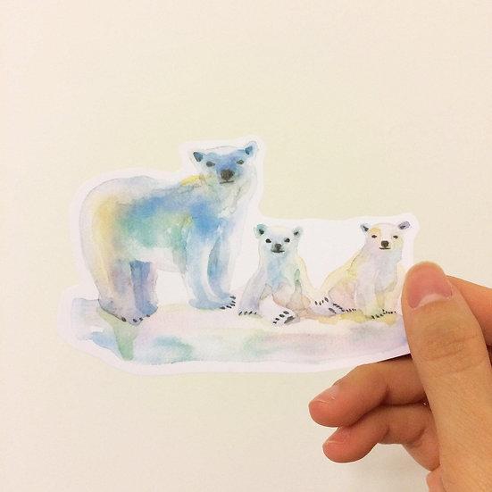 Polar Bear Family Die cut Sticker