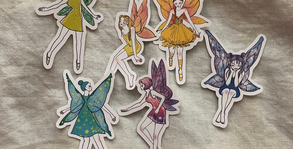 Fairy Girls Stickers (2 Inches 6 Die Cuts)