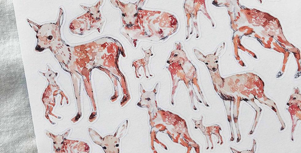 Baby Deer Watercolor Stickers