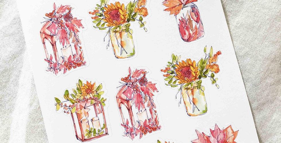 Autumn Mood Vases Stickers