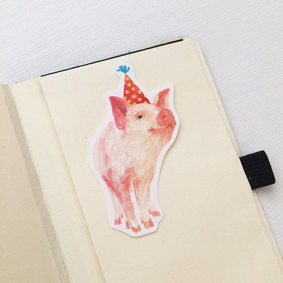 Party With Baby Piglet  Die cut Sticker