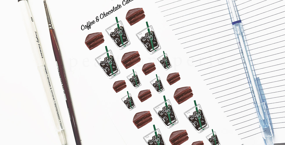 Coffee and Chocolate cake stickers