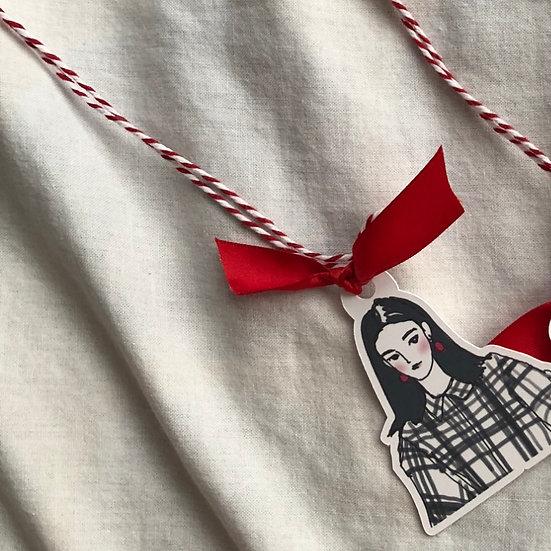 Winter Days Girl Ribbon Book Mark -C