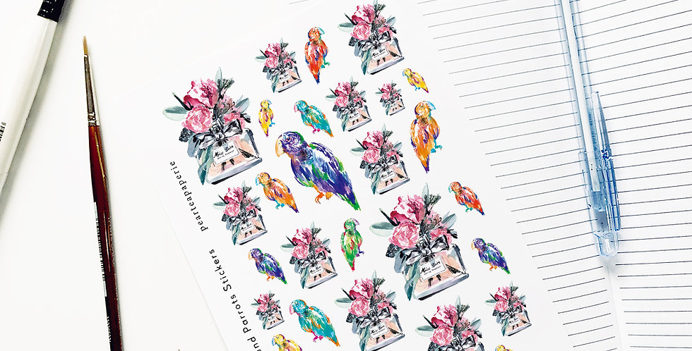 Miss Dior vase and Parrot Stickers