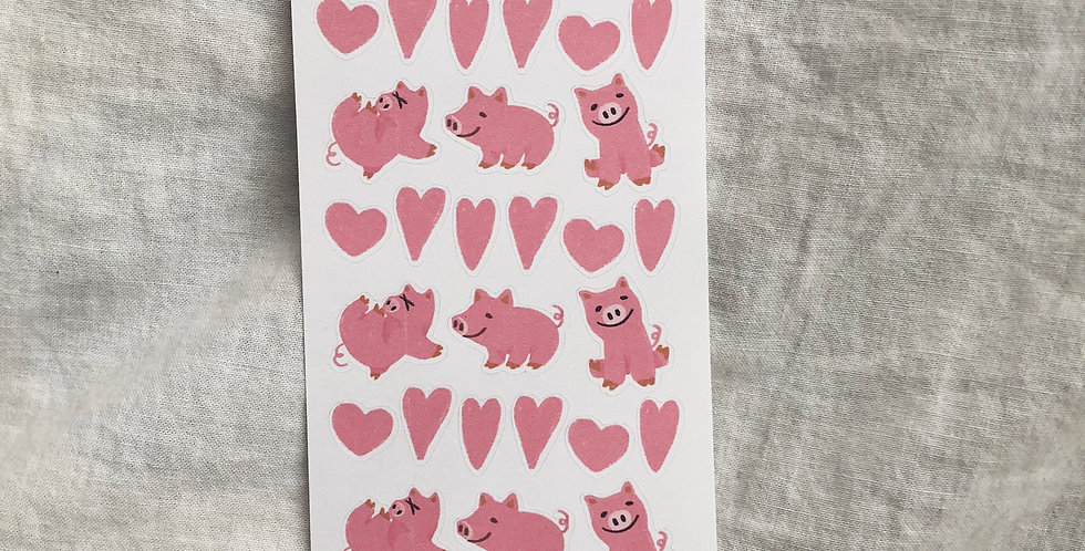 Cute Pink Pigs Stickers