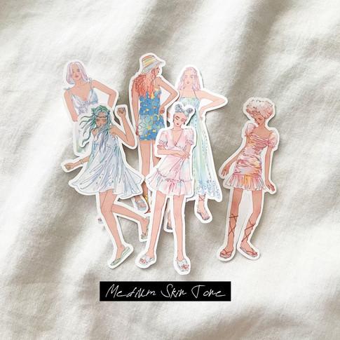 Summer Dress Girls stickers - Whole Body