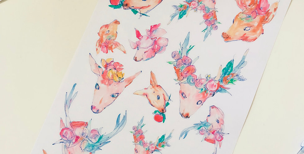 Flower Deer Stickers