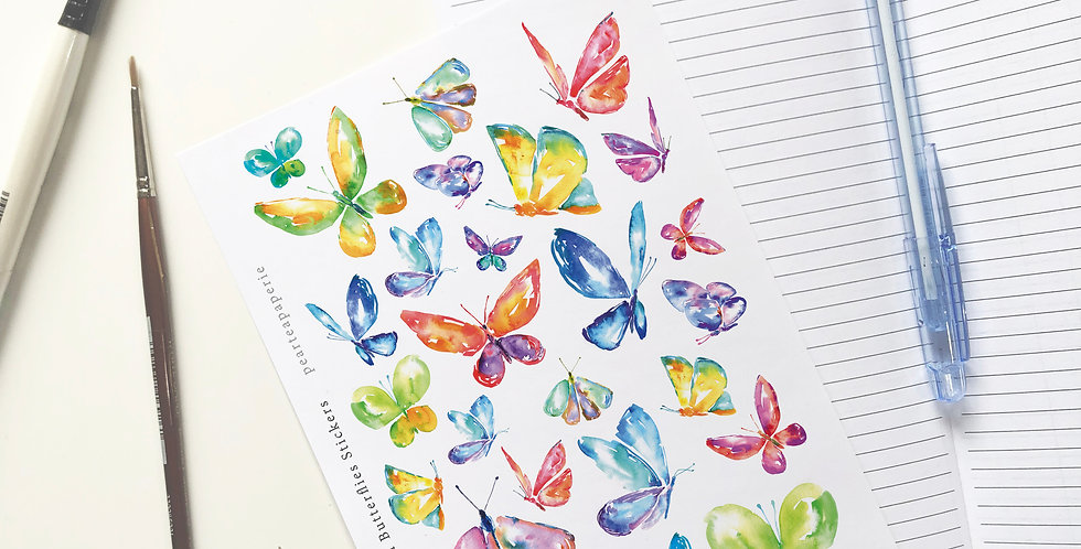 Watercolored Butterflies Stickers