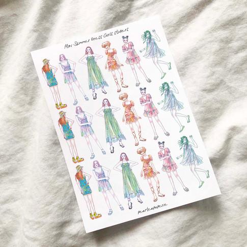 Mini Summer Dress Girls stickers - Whole Body