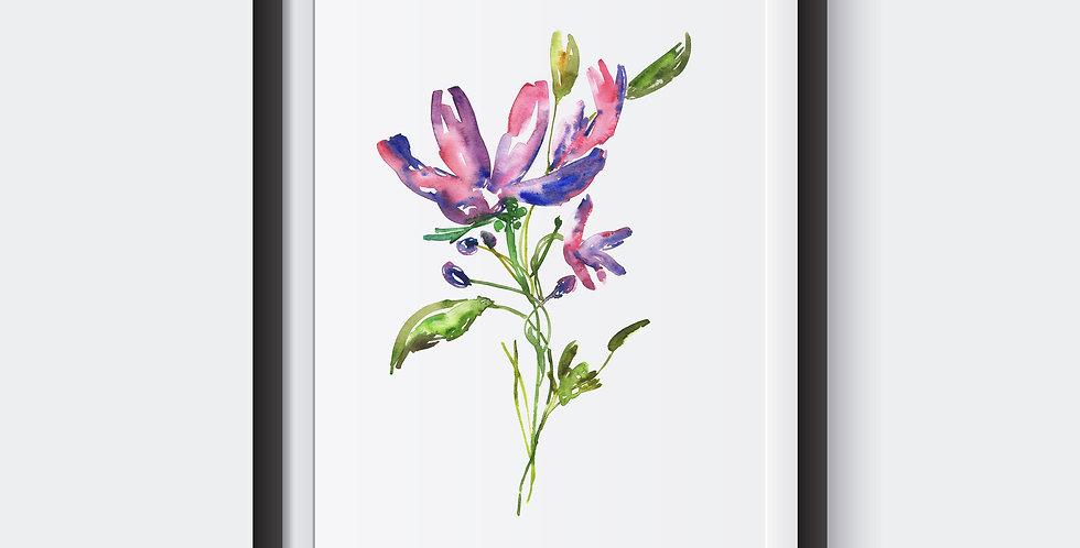 Gentian Flower Poster