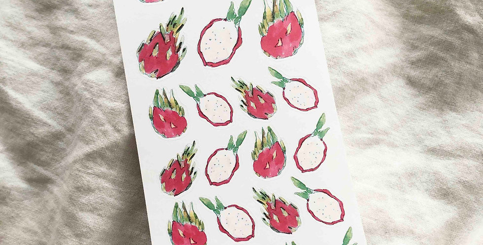 Watercolored Dragon Fruits 2 3.25 by 7