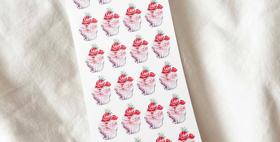 Strawberry Cupcakes Stickers