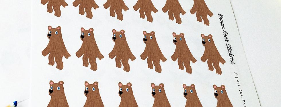 Brown Puppet Bear Stickers
